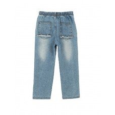 Boys Ripped Patches Elastic Denim Pants