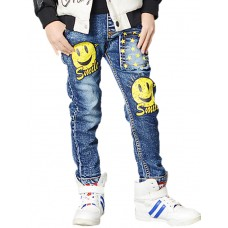 Boy's Cartoon Smiling Face Print Jeans