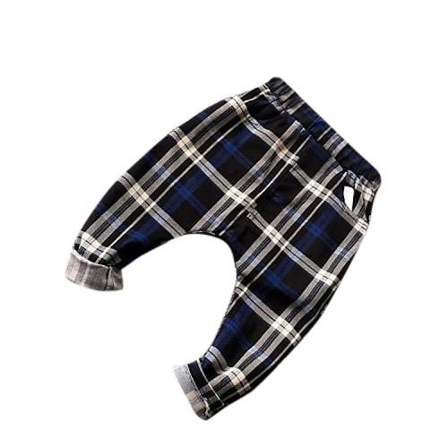 Boy Casual Check Cotton Fall Pants