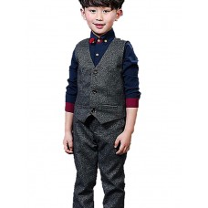 Boy's Formal Solid Shirt Vest Cotton