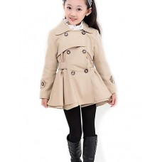 Girl's Striped Trench Fall Coat