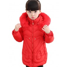 Girl's Casual Solid Down Padded