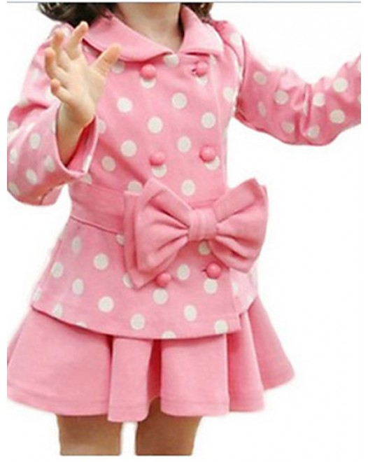 Girls Two Pcs Bow Dots Coat