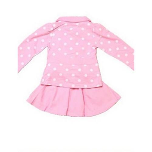 Girls Two Pcs Bow Dots Coat