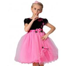 Girl'sSolid Bowknot Flowers Dress