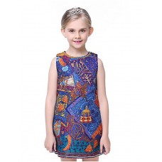 Girl's Print Cotton Polyester Dress