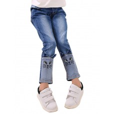 Girl's Patchwork Cat Print Jeans