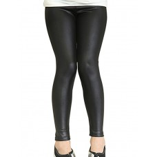Girl's Solid Leather Leggings