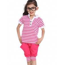 Girl's Casual Solid Stripe Two-piece Set