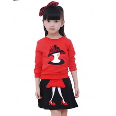 Girl's Casual Short Skirt Two-piece Set