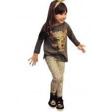 Girl`s Leopard Head Print Leggings Set