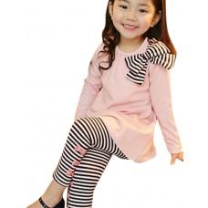 Girl's Stripes Bows Leggings Long Set