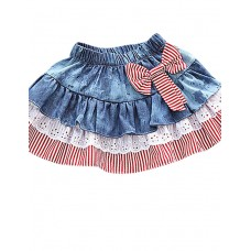 Girl's Blue Casual Cotton Skirt