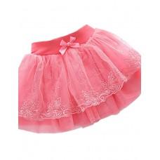 Girl's Casual Solid Nylon Skirt