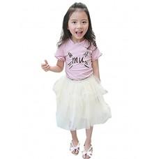 Girl Casual Solid Chiffon Skirt