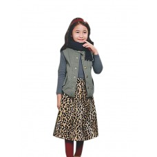 Girl's Holiday Leopard Fall Skirt