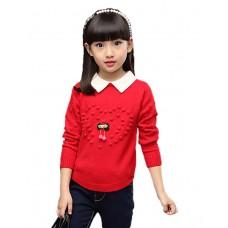 Girl Casual Print Sweater & Cardigan