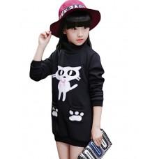Girl Long Casual Solid Sweatshirt