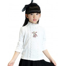 Girl's Ruffle Collar Lace Shirt