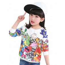 Girl's Cartoon Print Sweatshirt