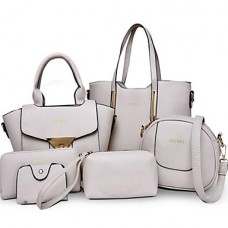 Women Outdoor PU Tote Beige Bag