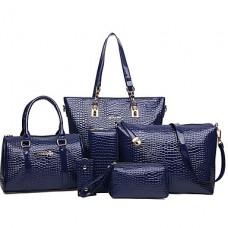 Women PU Leather Barrel Bag Tote Wallet