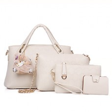 Women PU Duffel Tote Beige Bag Sets