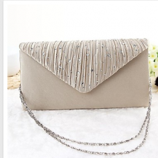 Women Silk Party Evening Beige Bag