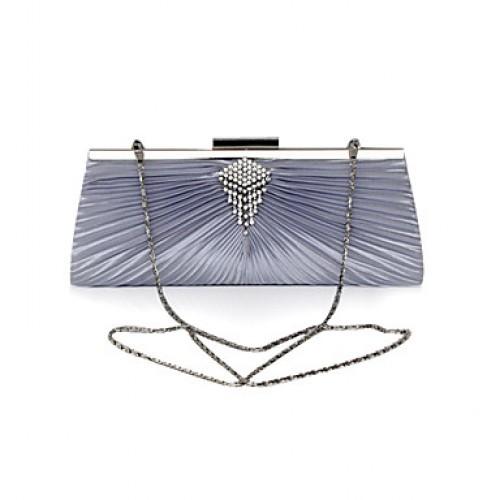 Satin Shell Rhinestone Evening Handbag