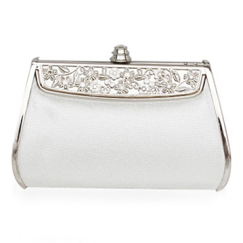 Faux Leather Silver Hard Case Clutch Bag
