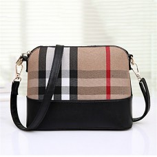 Women PU Plaid Stripe Shoulder Bag