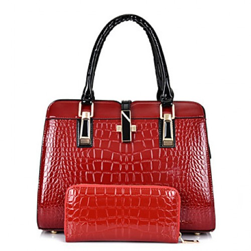 Women Patent Leather Doctor Bag Tote