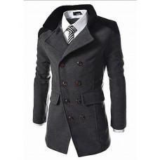 Men's Solid Casual /  Plus Size Coat