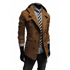 Men's Solid Casual Trench coat