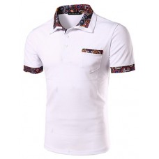 Men's Casual Floral Stitching Polo Shirt