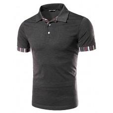 Men's  Stripe Stitching Polo Shirt