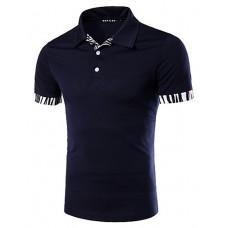 Men's Fashion Slim Zebra Stitching Polo Shirt