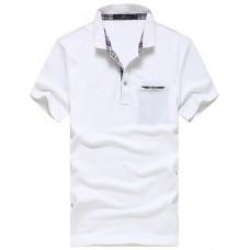Men Cotton Solid Color Polo T Shirt