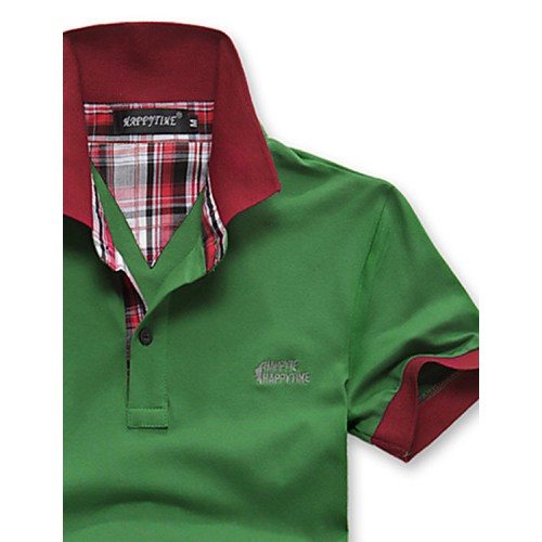 Happy Time Lapel Stitching Color Shirt