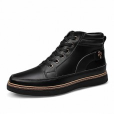 Men's Leather Casual Flat Lace-up Boots