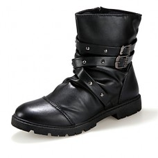 Men's Leather Party Buckle Zipper Boots