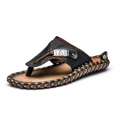 Men's Leather Casual Stitching Lace Sandals