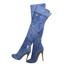 Women's Canvas Stiletto Heel Boots