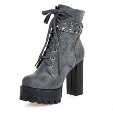 Women's Winter Combat Leatherette Boots