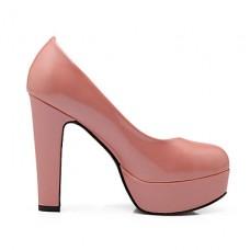 Women's Chunky Heel Round Toe Pumps
