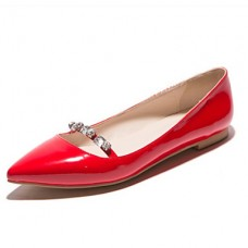 Women's Leather Flat Heel Pointed Toe Flats