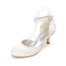 Women's Spring Round Toe Silk Heels