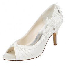 Women's Fall Stretch Satin Wedding Heels