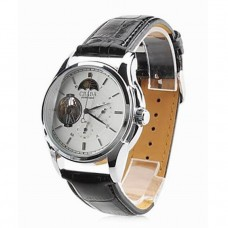 Men's Leather Auto Mechanical Watch