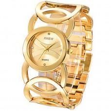 Women Rhinestone Golden Bracelet Watch